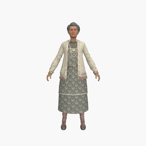 grandmother rigged cartoons 3D model