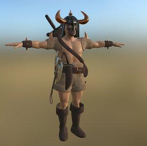 3D barbarian pbr model