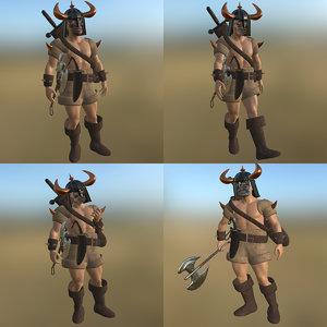 barbarian pose pbr 3D model