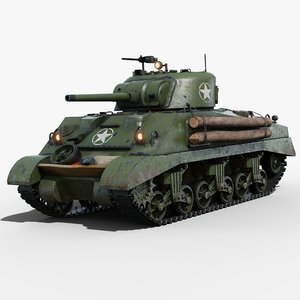 3D model sherman m4a2 tank gameready