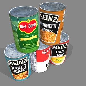 3D cans polys food model
