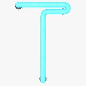 3D model neon letter t alphabet