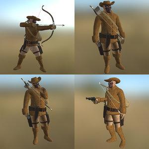 3D cowboy pose pbr