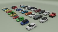 collection of 30 low poly cars
