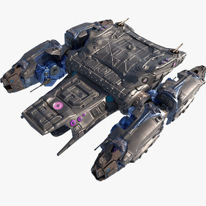 battle spaceship ship rigged model