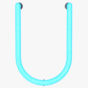 3D neon letter u alphabet
