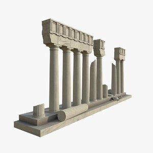 3D model doric columns