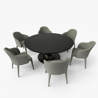 Fendi Dining Table Chair Set - Black Cream - PBR