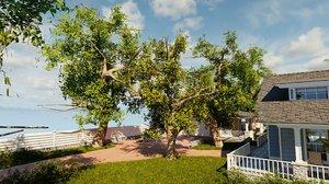 blender porch house tree bushes model