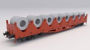 3D flat rail car metal