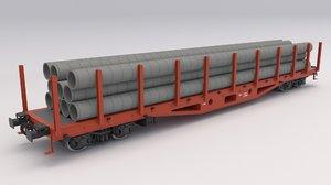 3D flat rail car pipes model