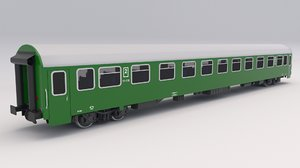 3D passenger train car green