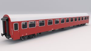 passenger train car red 3D model