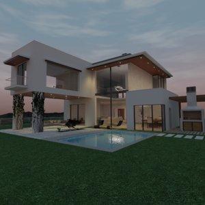 3D model modern scene