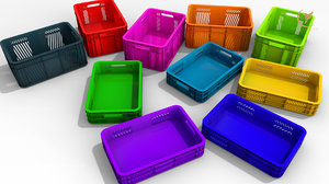 3D low-poly plastic box model