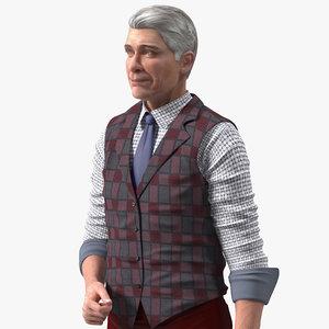3D model elderly man casual wear