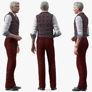 3D elderly man casual wear model
