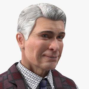 3D elderly man casual wear