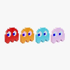 pixelized ghosts pacman 3D model