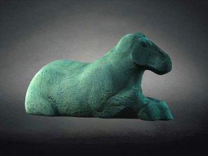 stone horses recumbent animal 3D model