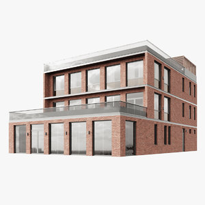 3D model modern multiplex building