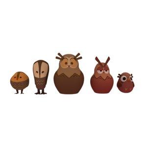 3D wooden owls model