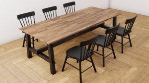 3D set table ikea chair wood model