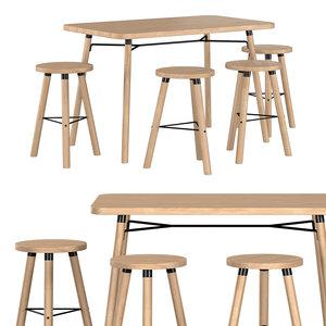 partridge rectangle bar table 3D model