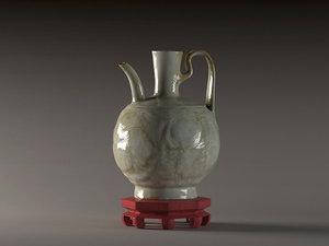 open peony vase green model