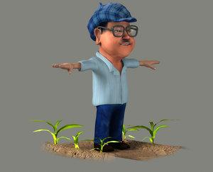 3D model men villagers farming animation