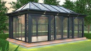 house aluminum glass 3D