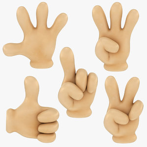 cartoon glove hands sign 3D model