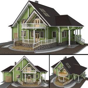 log house - rounded 3D model