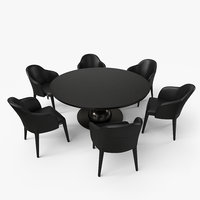 Fendi Dining Table Chair Set - Black - PBR