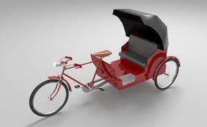 bike rickshaw v2 3D model