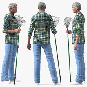elderly man homewear rigged 3D model