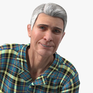 elderly man homewear rigged 3D model