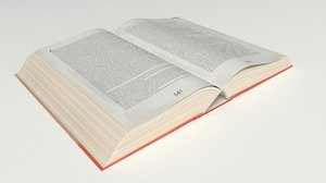 open hardcover book 3D