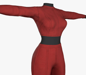 3D red women outfit