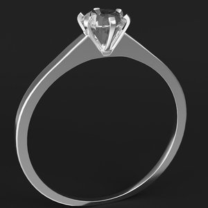 3D diamond solitaire ring