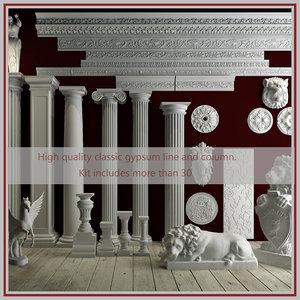 3D model classic gypsum line column