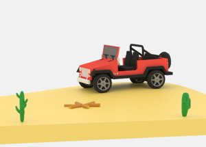 3D cartoon jeep wrangler model