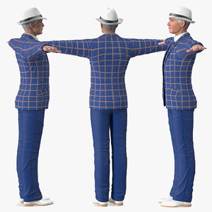 3D model elderly man leisure suit