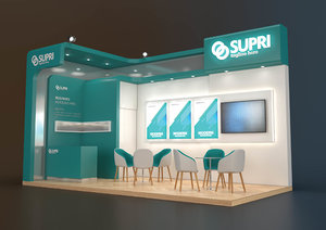 3D exhibition stand 18 sqm model