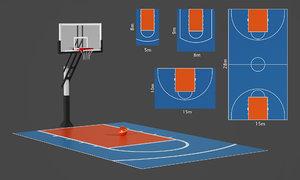 3D basketball outdoor court model