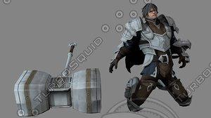 3D model pbr ancient warrior