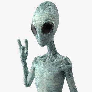3D extraterrestrial alien rigged