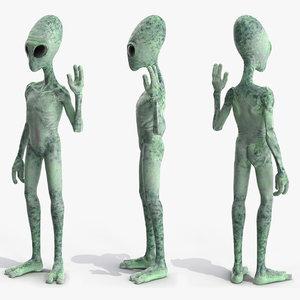 3D green alien rigged modo