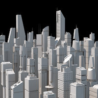 SciFi Skyscrapers Low Poly Kitbash