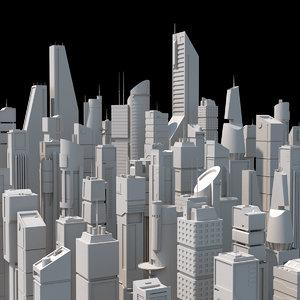 skyscrapers scifi 3D model